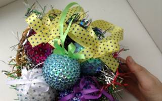 Новогодние поделки из пенопластовых шаров