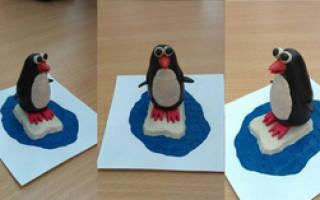 Пингвин из полимерной глины