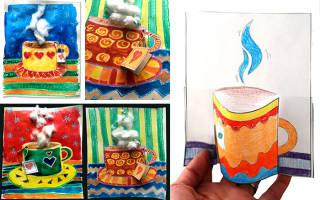 Шаблон чайника и чашки для аппликации