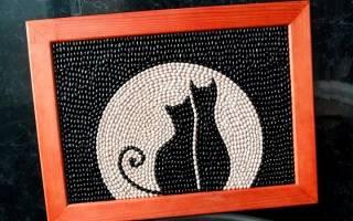 Картина из фасоли кошки трафарет