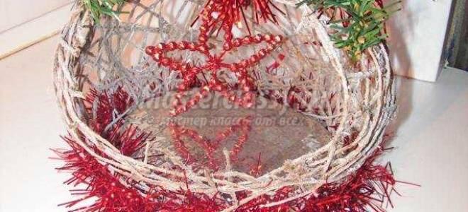 Новогодний шар из ниток с композицией