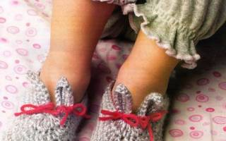 Связать тапки ботинки на стельке детские