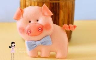 Брелок свинки из фетра выкройки
