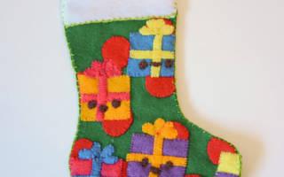 Новогодний носочек из фетра выкройки