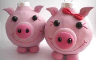 Новогодняя поделка в детский сад свинка