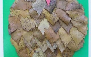 Трафарет совы для аппликации из листьев