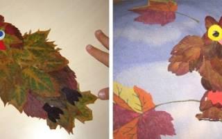 Поделка из листиков деревьев фото