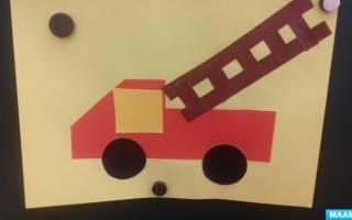Трафарет пожарной машины для аппликации