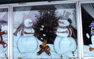 Новогодние рисунки на окне красками