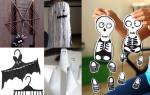 Шаблон скелета на хэллоуин из бумаги